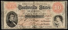 Confederate Currency, Eight Miscellaneous Confederate Currency Notes