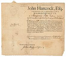 1793 Large JOHN HANCOCK Signed Partially-Printed Military Commission