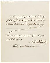 ULYSSES S. GRANT 1876 Official Pardon Signed as President