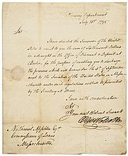 OLIVER WOLCOTT JR. Autograph Note Signed, Secretary of the Treasury