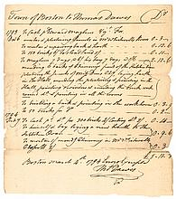 1794 Colonel Thomas Dawes Document Signed, Boston, MA Architect-Designer-Builder