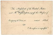 GEORGE WASHINGTON Printed Invitation to Dine with President