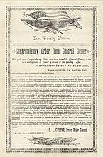 Printed Document Congratulatory Order from GENERAL GEORGE ARMSTRONG CUSTER