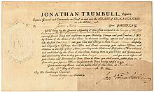 JONATHAN TRUMBULL (1740 - 1809) Signed 1800 CT. Military Commission