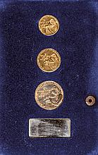 1961 Israel GOLD Medal, Bar Mitzvah Set of Three Medals, Each Uncirculated
