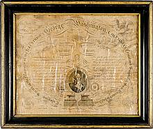 1815 Printed Calligraphic Memorial for GEORGE WASHINGTON by Benjamin O. Tyler