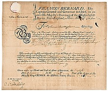 SIR FRANCIS BERNARD, 1766 Signed French and Indian War Military Commission