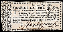 1765 JOHN HANCOCK Signed Faneuil-Hall LOTTERY Ticket