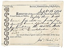 1798 USS CONSTITUTION Receipt for Boards & planks building Frigate Constitution