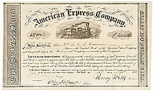 1854 HENRY WELLS and WILLIAM FARGO Signed American Express Co. Stock Certificate