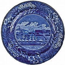 c. 1824 Blue Historical Staffordshire Plate: Landing of Gen. LaFayette...