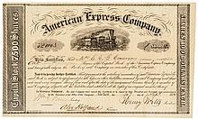 1854 HENRY WELLS + WILLIAM FARGO Signed American Express Stock Certificate
