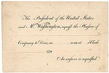 GEORGE and MARTHA WASHINGTON Presidential Printed INVITATION to Dine