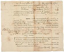1793 Boston Harbor Sailors Arrest Document For Neglect of Duty