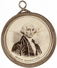 Rare GEORGE WASHINGTON & HENRY CLAY Pewter Medallion with Loop