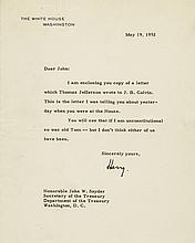 HARRY S. TRUMAN Typed Letter Signed as President on White House Stationery