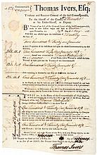 1786 Massachusetts Treasurer's Warrant to Enforce the Collection of Taxes