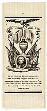 1841 William H. Harrison Memorial Silk Funeral Ribbon, Choice Crisp Mint