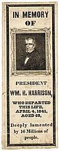 1841 William Henry Harrison Portrait Type Silk Memorial Ribbon Scarce Type