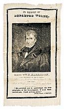 1841 William Henry Harrison Memorial Silk Ribbon - In Memory Of DEPARTED WORTH.