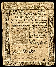 Colonial Currency, May 1, 1760, BENJAMIN FRANKLIN Printed Pennsylvania Note VF
