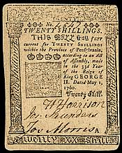 Colonial Currency, Pennsylvania May 1, 1760 by BENJAMIN FRANKLIN 20s Choice EF!