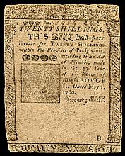 Colonial Currency. Pennsylvania. May 1, 1760. 20s. Printed by BENJAMIN FRANKLIN