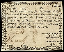 Colonial Currency, Georgia. June 8, 1777 $4/5. Support of the Continental Troops