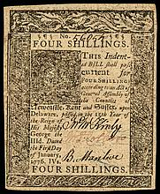 Colonial Currency. Delaware. January 1, 1776. Four Shillings Crisp Very Fine