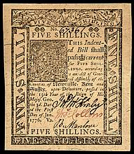 Colonial Currency. DE. January 1, 1776 5 Shillings Jumbo Margins Superb Gem Unc.