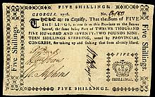 Colonial Currency, GA, 1776 Sterling Denominations. 5 Shillings. Crown vignette