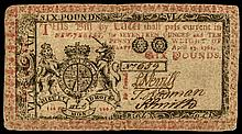 Colonial Currency, NJ. April 23, 1761. Six Pounds. Red and Black Printed Face