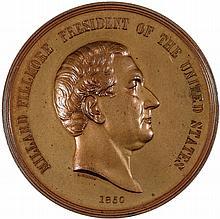 1850 Millard Fillmore Indian Peace Medal 76mm Julian IP-30 Bronze Gem Mint State