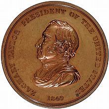Gem 1849 ZACHARY TAYLOR INDIAN PEACE MEDAL, Bronze 76mm Julian IP-27