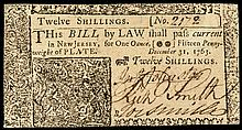 Colonial Currency, New Jersey. December 31, 1763. 12 Shillings. Crisp Unc.