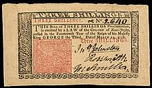 Colonial Currency, New Jersey March 25, 1776 3 Shillings Choice AU Jumbo Margins