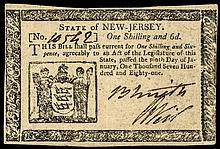 Colonial Currency, New Jersey, January 9, 1781. 1s6d, AU-53, EPQ