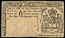Colonial Currency, New York. September 15, 1755. Twenty Shillings Rarity