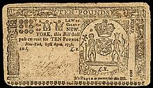 Colonial Currency, New York. April 15, 1758. Ten Pounds. Choice Very Fine