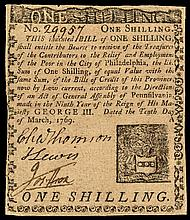 Colonial Currency. PA. March 10, 1769. 1s. CHARLES THOMSON Signed. Ch VF