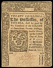 Colonial Currency, Connecticut. June 1, 1773. Twenty Shillings. No Cancel. VF+