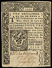Colonial Currency, CT, June 1, 1773, 10s No Cancel. PMG graded Extremely Fine-40