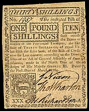 Colonial Currency, 1769 Pennsylvania Note Signed by JOHN NIXON