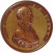 1817-Dated JAMES MONROE Indian Peace Medal Struck in Bronze Julian IP-8. GEM MS