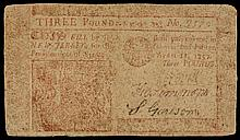 Colonial Currency, NJ, April 12, 1757, 3 Pounds. RED Printed Face Very Fine.
