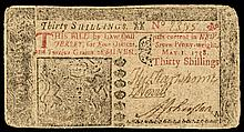 Colonial Currency, New Jersey. May 1, 1758. Thirty Shillings. Choice Very Fine