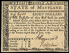 Colonial Currency, MD, June 28, 1780, 8 Dollars, Fully Signed. Choice Crisp AU