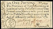 Colonial Currency. North Carolina. December 1771. One Pound. Bear. Choice EF+