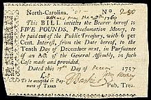 Colonial Currency, North Carolina. November 21, 1757. £5. The Finest Known