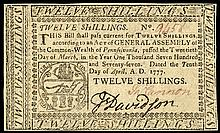 Colonial Currency, Pennsylvania. April 10, 1777. Twelve Shillings. PMG AU-53